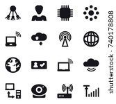16 vector icon set   share ... | Shutterstock .eps vector #740178808