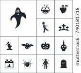 ghost icon halloween set simple ... | Shutterstock .eps vector #740181718