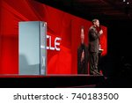 Small photo of SAN FRANCISCO, CA - SEPT 24, 2008: CEO of Oracle Larry Ellison makes his presentation of new database server Exadata at Oracle OpenWorld conference in Moscone center on Sept 24, 2008.