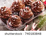 chocolate peppermint cupcakes... | Shutterstock . vector #740183848
