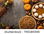 fall traditional pies pumpkin ... | Shutterstock . vector #740184340