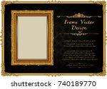 thailand royal gold frame on... | Shutterstock .eps vector #740189770