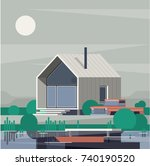 designer cabin illustration ... | Shutterstock .eps vector #740190520