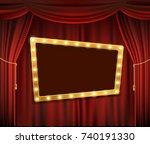 gold frame with light bulbs on... | Shutterstock .eps vector #740191330