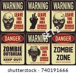 poster zombie outbreak. sign... | Shutterstock .eps vector #740191666