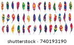 Vector Colored Feathers Set....