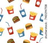 burger  drink and fries on a... | Shutterstock .eps vector #740194708