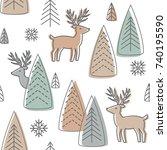reindeer seamless pattern.... | Shutterstock .eps vector #740195590
