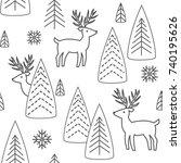 reindeer seamless pattern.... | Shutterstock .eps vector #740195626