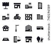 16 vector icon set   billboard  ... | Shutterstock .eps vector #740196589