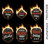 set of six hot black friday... | Shutterstock .eps vector #740199208