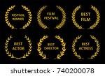 film awards. gold award wreaths ... | Shutterstock .eps vector #740200078