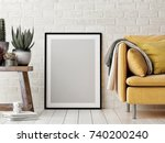 mock up poster  interior... | Shutterstock . vector #740200240