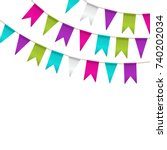 colorful garlands on white... | Shutterstock .eps vector #740202034