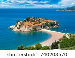 sveti stefan island in budva in ... | Shutterstock . vector #740203570