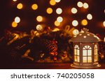 christmas lantern with burning... | Shutterstock . vector #740205058