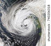 hurricane ophelia hits ireland. ... | Shutterstock . vector #740206318