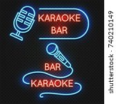 roadside karaoke night club... | Shutterstock .eps vector #740210149