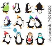 funny christmas penguins vector ... | Shutterstock .eps vector #740210200
