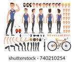 cartoon man athlete vector...   Shutterstock .eps vector #740210254