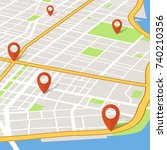 perspective 3d city map with... | Shutterstock .eps vector #740210356
