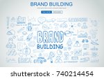 brand identity concept with... | Shutterstock . vector #740214454