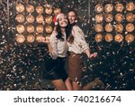 two happy beautiful girls in...   Shutterstock . vector #740216674