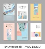 set of creative trendy cards.... | Shutterstock .eps vector #740218330