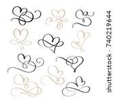 set of flourish calligraphy... | Shutterstock .eps vector #740219644