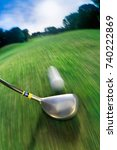 golf club hitting ball on golf... | Shutterstock . vector #740222869