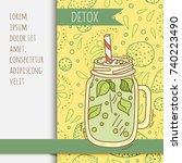 background with glassware jar... | Shutterstock .eps vector #740223490
