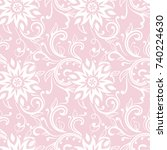 floral ornaments. pale pink... | Shutterstock .eps vector #740224630