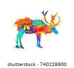 reindeer silhouette of... | Shutterstock .eps vector #740228800