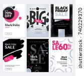 black friday sale banners. set... | Shutterstock .eps vector #740229370