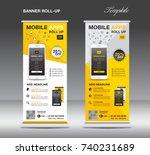 mobile apps roll up banner... | Shutterstock .eps vector #740231689