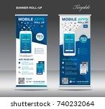mobile apps roll up banner...   Shutterstock . vector #740232064