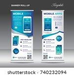 mobile apps roll up banner... | Shutterstock .eps vector #740232094