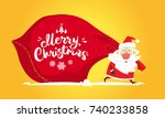 santa claus carry large red bag ... | Shutterstock .eps vector #740233858