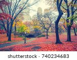 central park at rainy morning ... | Shutterstock . vector #740234683