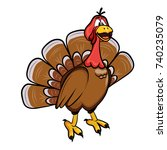 a cartoon turkey. vector... | Shutterstock .eps vector #740235079