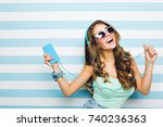 smiling brown haired girl... | Shutterstock . vector #740236363