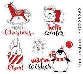 vector christmas sticker set.... | Shutterstock .eps vector #740239363