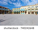 colorful houses of old square... | Shutterstock . vector #740242648