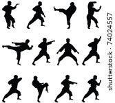 Silhouettes of positions of the karate. A collection.