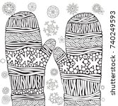 Knitted Mittens With Snowflakes....