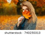 beautiful young happy girl with ... | Shutterstock . vector #740250313