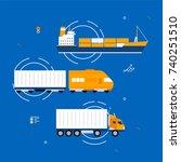 cargo tracking service concept... | Shutterstock .eps vector #740251510