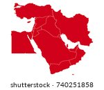 vector map of middle east | Shutterstock .eps vector #740251858
