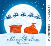 text merry christmas and happy... | Shutterstock . vector #740252164