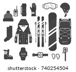 winter sport icons collection.... | Shutterstock .eps vector #740254504
